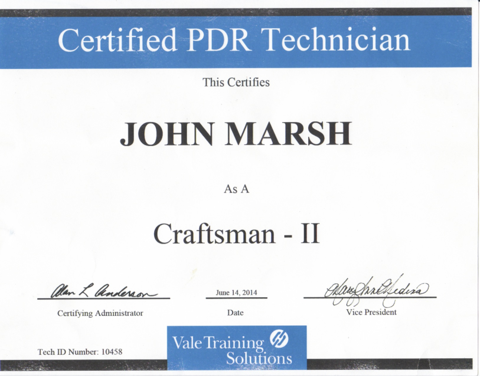 John Marsh Certified PDR Technician