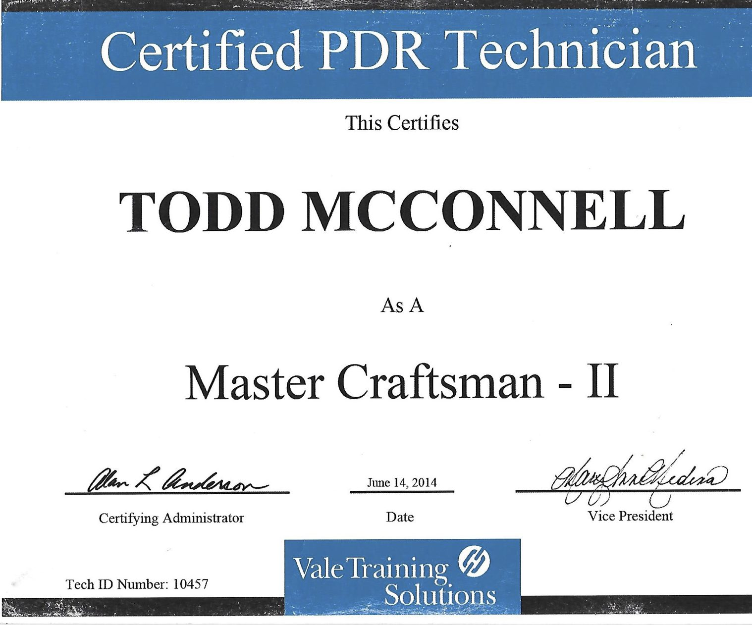 Todd McConnell Certified PDR Technician
